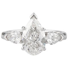 GIA Certified 2.01 Carat Pear Cut Diamond Three-Stone Ring Platinum