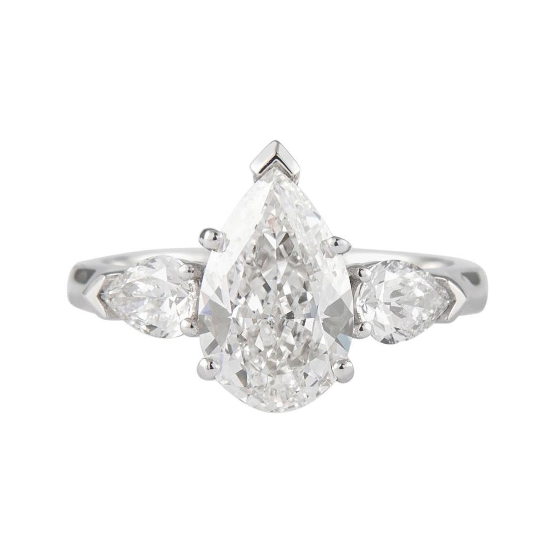 GIA Certified 2.01 Carat Pear Cut Diamond Three-Stone Ring Platinum