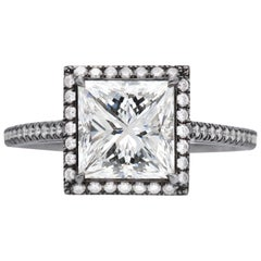GIA Certified 2.01 Carat Princess Cut Diamond Ring