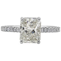 GIA Certified 2.01 Carat Radiant Cut Diamond Engagement Ring