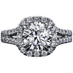 GIA Certified 2.01 Carat Round Brilliant Diamond Ring