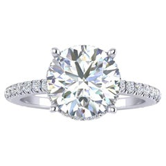 GIA Certified 2.01 Carat Round Diamond  E Color, VVS1 Clarity Platinum 950 Ring