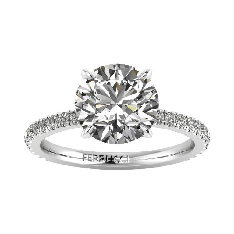 GIA Certified 2.39 Carat Round Diamond J color, SI1 clarity Platinum 950  Ring