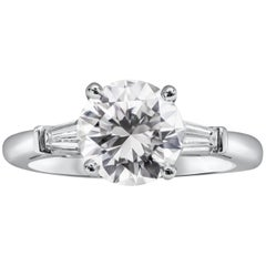 GIA Certified 2.01 Carat Round Diamond Three-Stone Engagement Ring