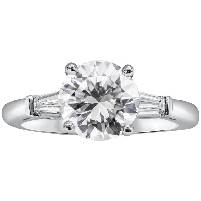 Engagement Rings On Sale Newcastle: GIA Certified 2.01 Carat Round Diamond Three-Stone