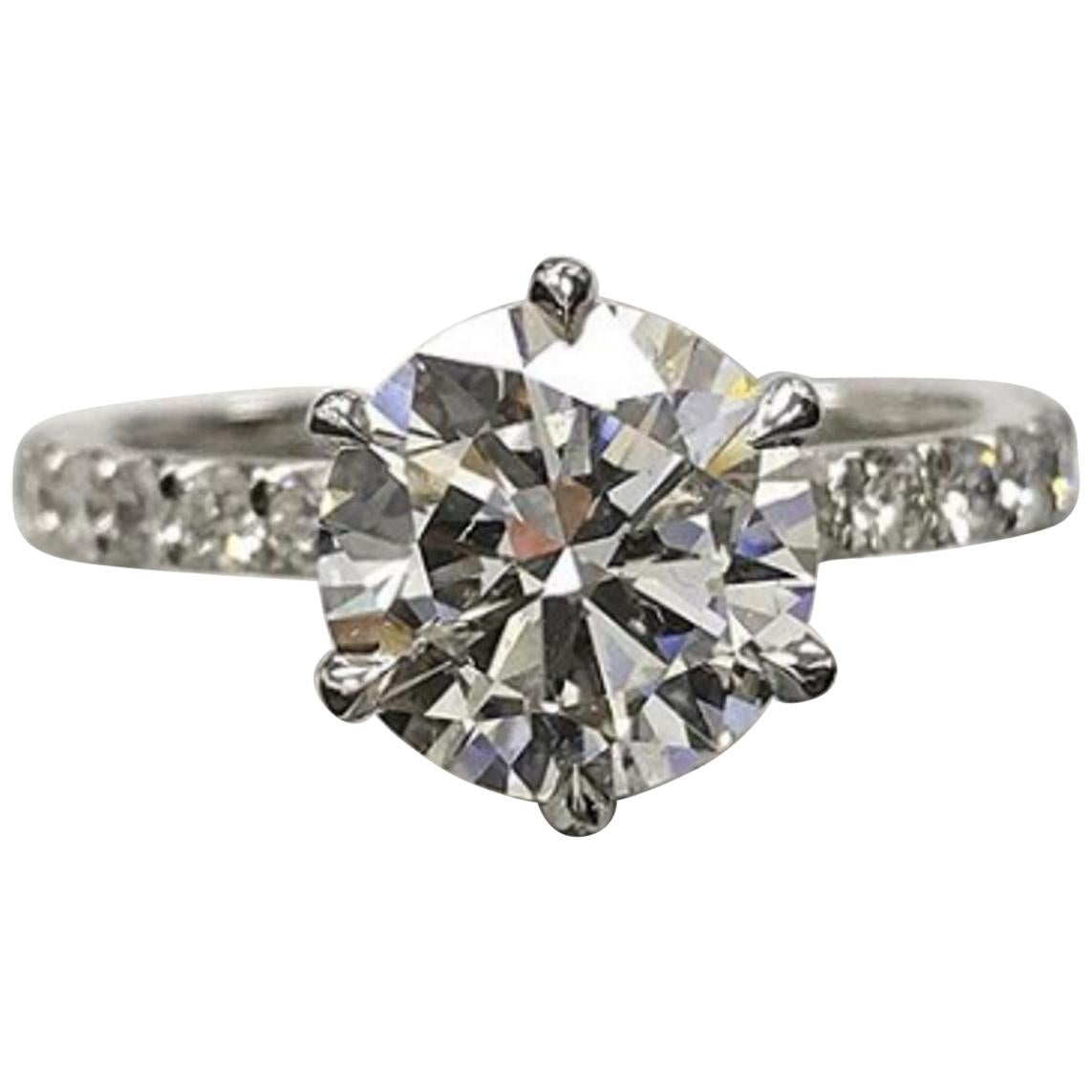 GIA Certified 2 Carat Triple Excellent Round Brilliant Cut Diamond VS1 Clarity