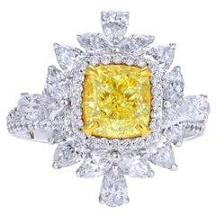 GIA Certified 2.01 Carat Yellow Cushion Diamond Engagement Ring