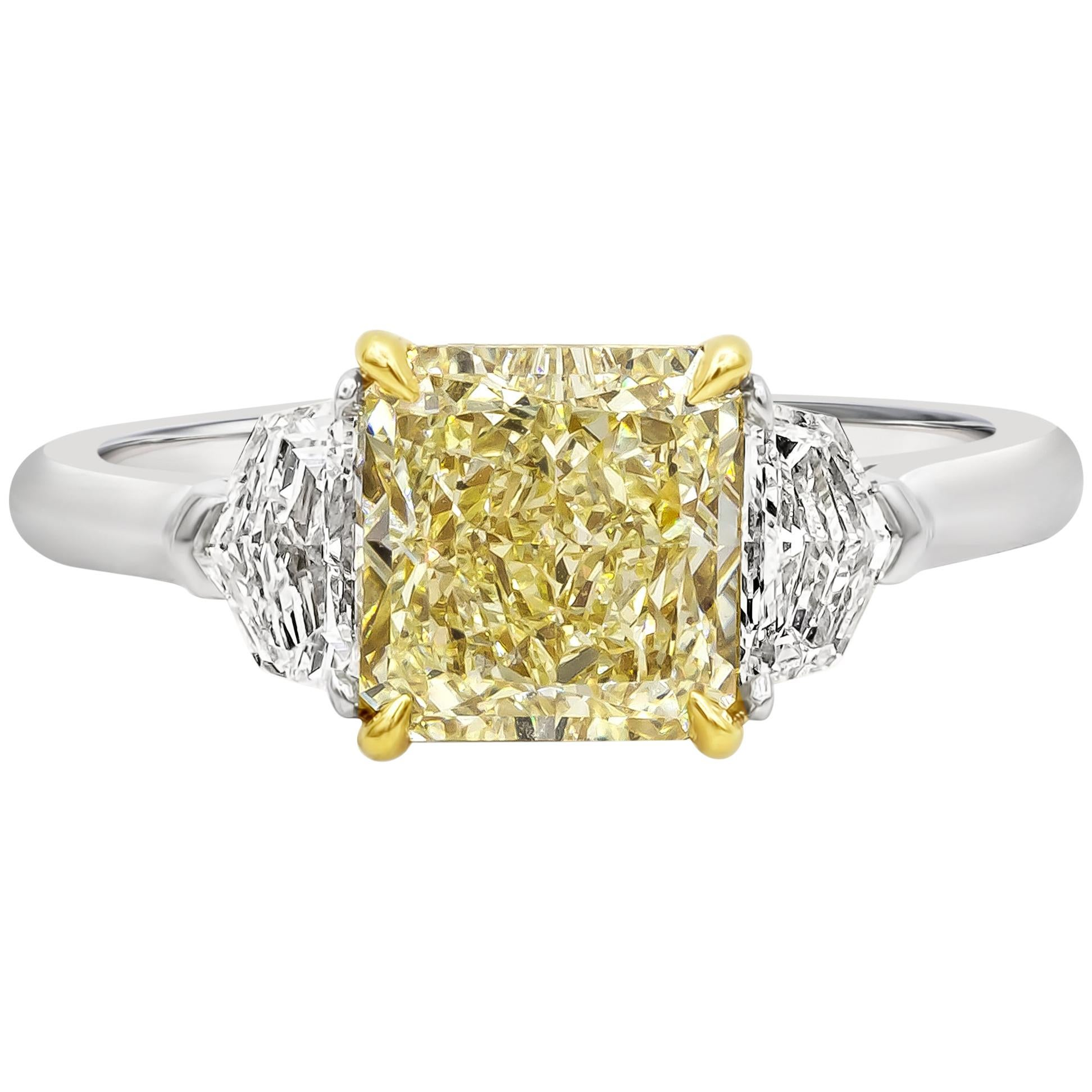GIA Certified 2.01 Carat Yellow Diamond Three-Stone Engagement Ring