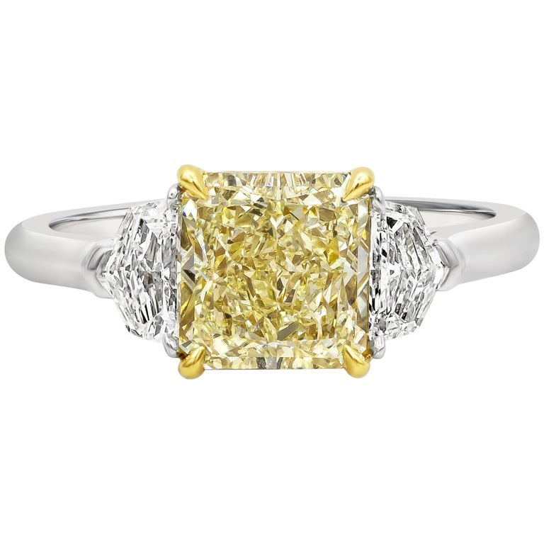 GIA Certified 2.01 Carat Yellow Diamond Three-Stone Engagement Ring For Sale