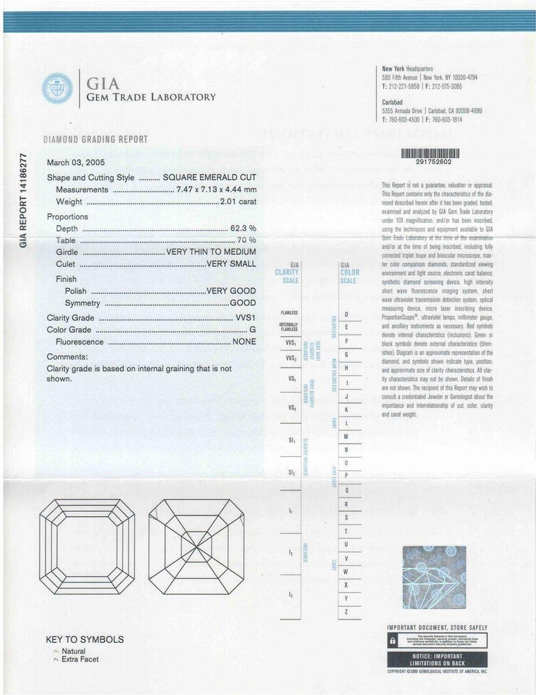 Emerald Cut GIA Certified 2.01 G-VVS2 Engagement Ring For Sale