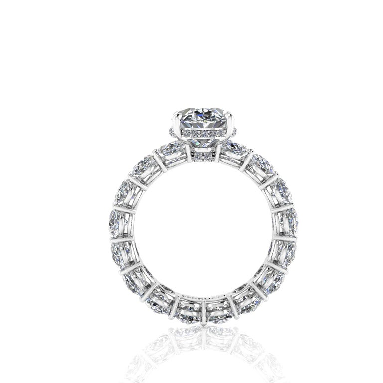 Contemporary GIA Certified 2.01 Oval Diamond Eternity Oval Diamond Shank Platinum 950 Ring For Sale