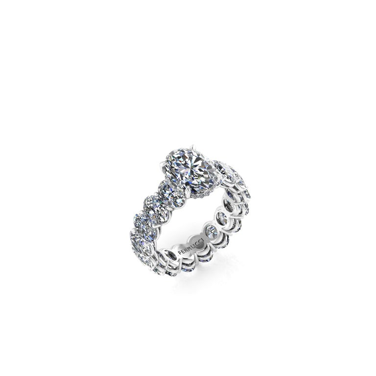 Oval Cut GIA Certified 2.01 Oval Diamond Eternity Oval Diamond Shank Platinum 950 Ring For Sale