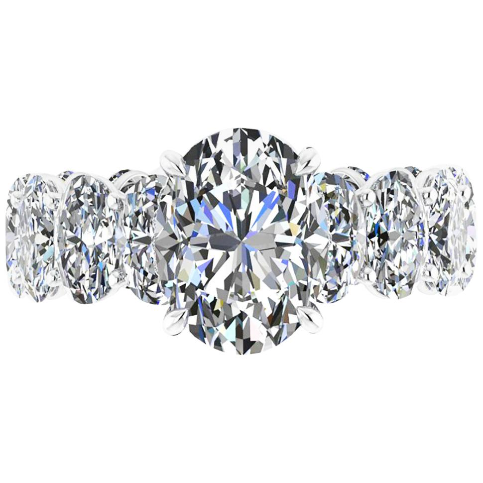 GIA Certified 2.50 Oval Diamond Eternity Oval Diamond Shank Platinum 950 Ring