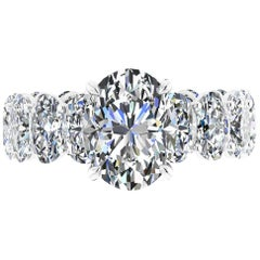 GIA Certified 2.00 Oval Diamond Eternity Oval Diamond Shank Platinum 950 Ring