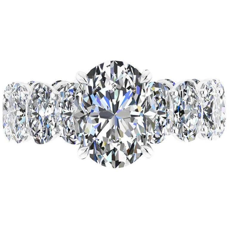 GIA Certified 2.01 Oval Diamond Eternity Oval Diamond Shank Platinum 950 Ring For Sale