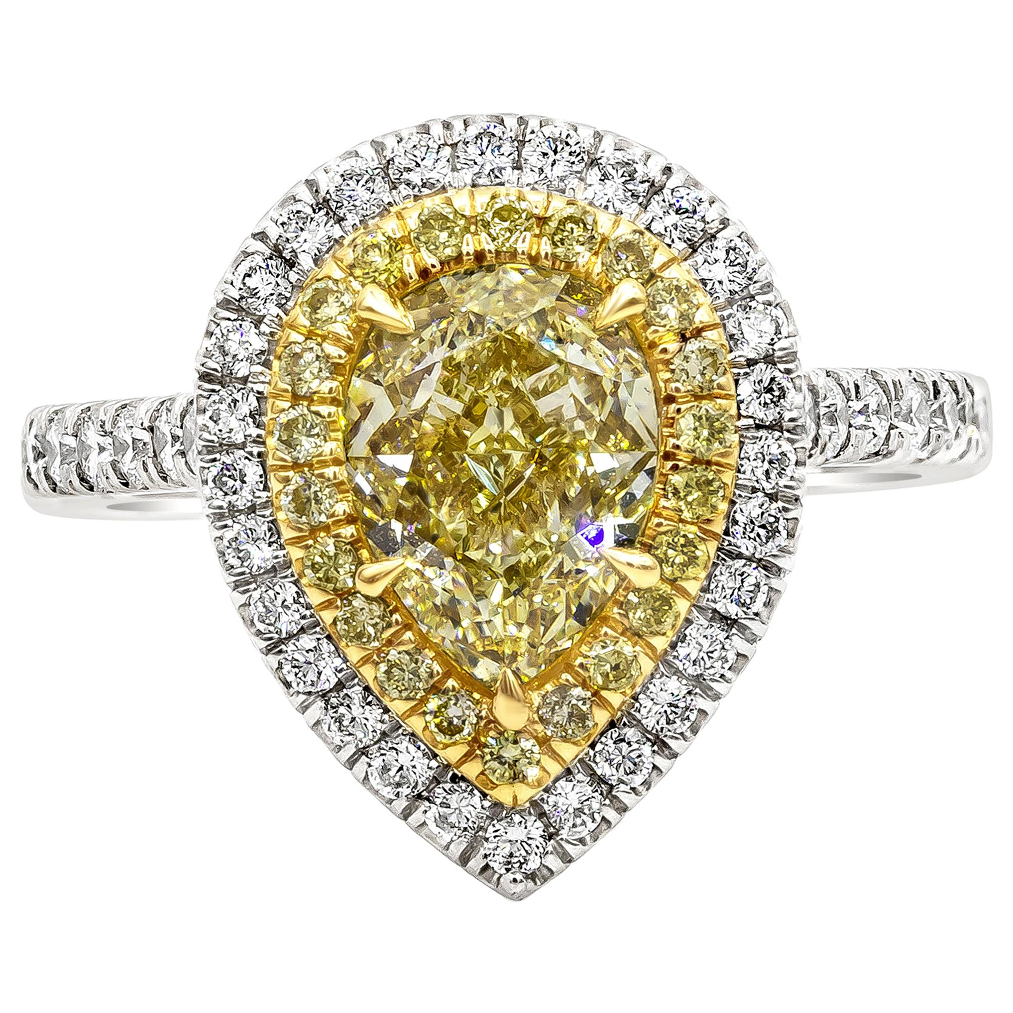 GIA Certified 2.01 Pear Shape Yellow Diamond Double Halo Engagement Ring