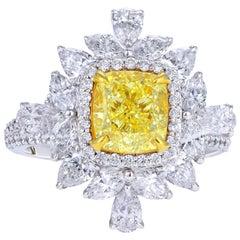 GIA Certified, 2.01 Carat Yellow Cushion Diamond Engagement Ring, 3.96 Carat
