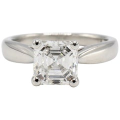 GIA Certified 2.02 Carat Asscher Diamond Platinum Solitaire Engagement Ring