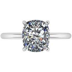 GIA Certified 2.09 Carat Cushion Diamond I Color Platinum Solitaire
