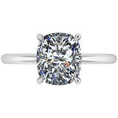 GIA Certified 2.09 Carat Cushion Diamond I Color Platinum Solitaire