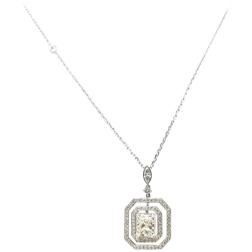 GIA Certified 2.02 Carat Cut-Cornered Rectangular Diamond Pendant