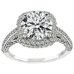 GIA Certified 2.02 Carat Diamond Engagement Ring and Wedding Band Set