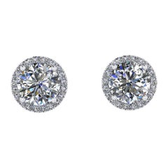 GIA Certified 2.02 Carat Diamond Platinum Halo Stud Earrings