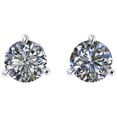 GIA Certified 2.02 Carat E Color VS1/VS2 Platinum Martini Studs