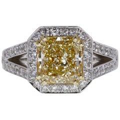 GIA Certified 2.02 Carat Fancy Greenish Yellow-Brown Radiant Diamond Ring in 18K