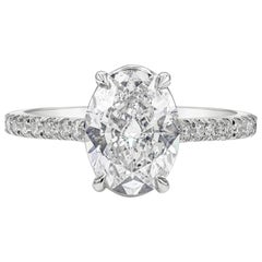 GIA Certified 2.02 Carat Oval Cut Diamond Engagement Ring in Platinum