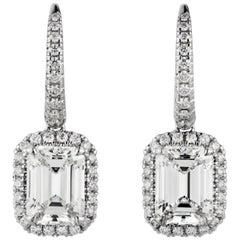 GIA Certified 2.02 Carat VS2 Clarity G Color Dangle Drop Earrings