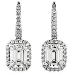 GIA Certified 2.02 Carat VVS2 Clarity G Color Dangle Drop Earrings