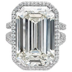 GIA Certified 20.21 Carat Emerald Cut Diamond Halo Engagement Ring