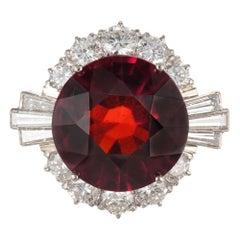 GIA Certified 20.28 Carat Natural Hessonite Garnet Diamond Gold Cocktail Ring