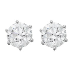 GIA Certified 2.03 & 2.01 ct F VS2 Handmade Single Stone,Solitaire Stud Earrings
