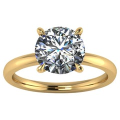 GIA Certified 2.03 Carat Diamond in 18 Karat Yellow Gold Solitaire Ring