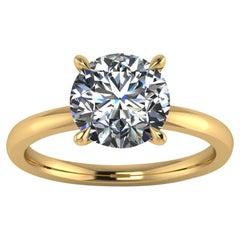 GIA Certified 2.03 Carat Diamond in 18 Karat Yellow Gold Solitaire Ring