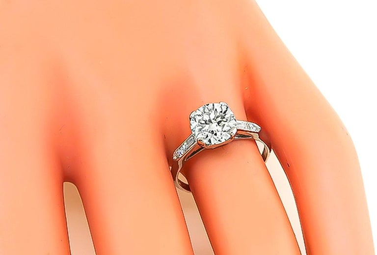 Round Cut GIA Certified 2.03 Carat Diamond Platinum Engagement Ring For Sale