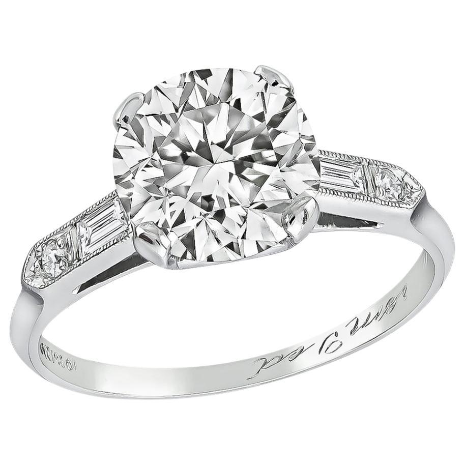 GIA Certified 2.03 Carat Diamond Platinum Engagement Ring