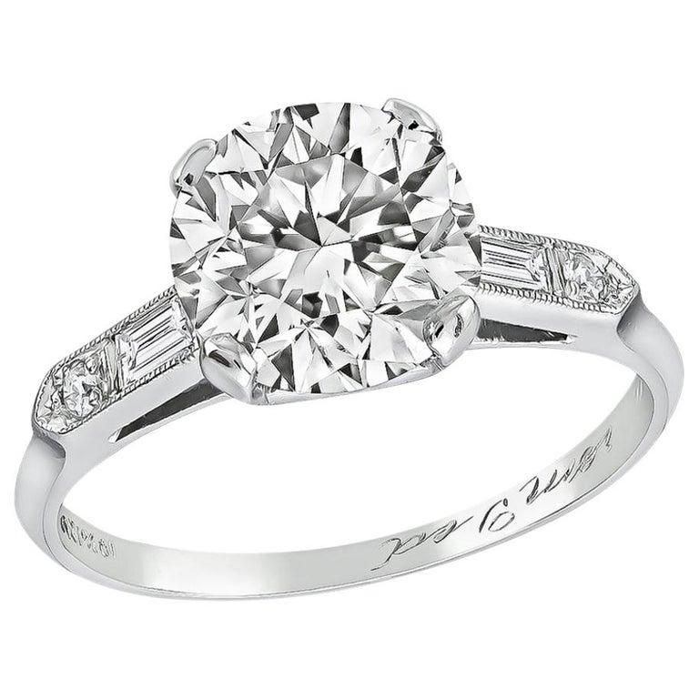 GIA Certified 2.03 Carat Diamond Platinum Engagement Ring For Sale