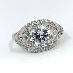 GIA Certified 2.03 Carat Diamond Ring in Pavé Navette Platinum Setting