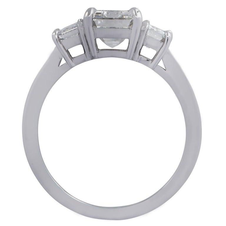 Modern Vivid Diamonds 2.03 Carat Emerald Cut Diamond Three-Stone Engagement Ring For Sale