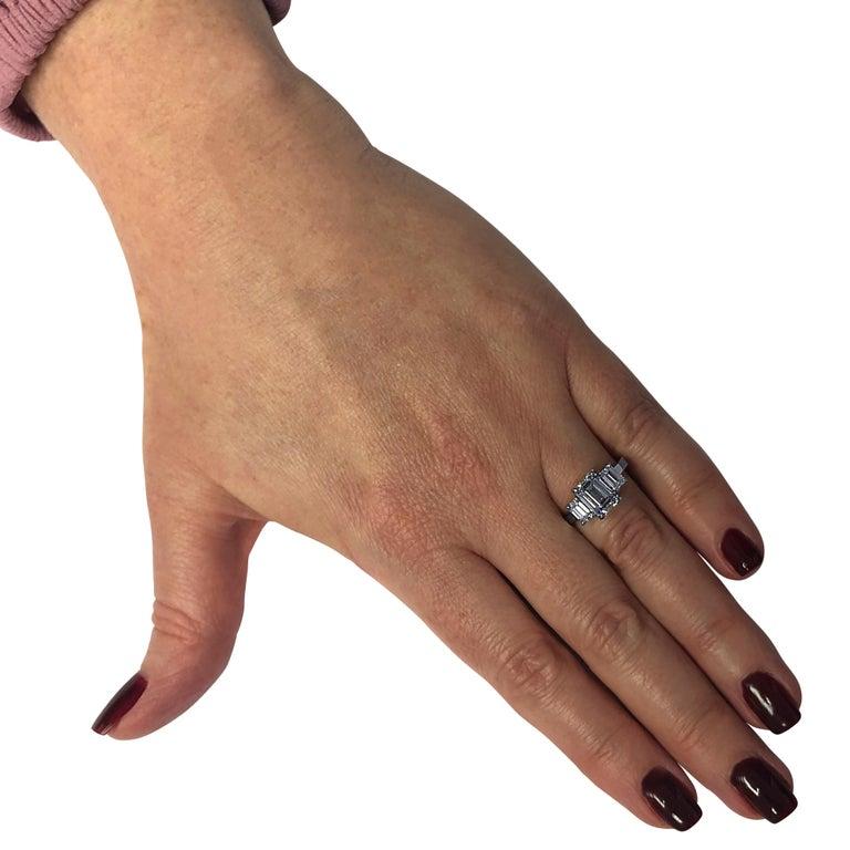 Vivid Diamonds 2.03 Carat Emerald Cut Diamond Three-Stone Engagement Ring In New Condition For Sale In Miami, FL