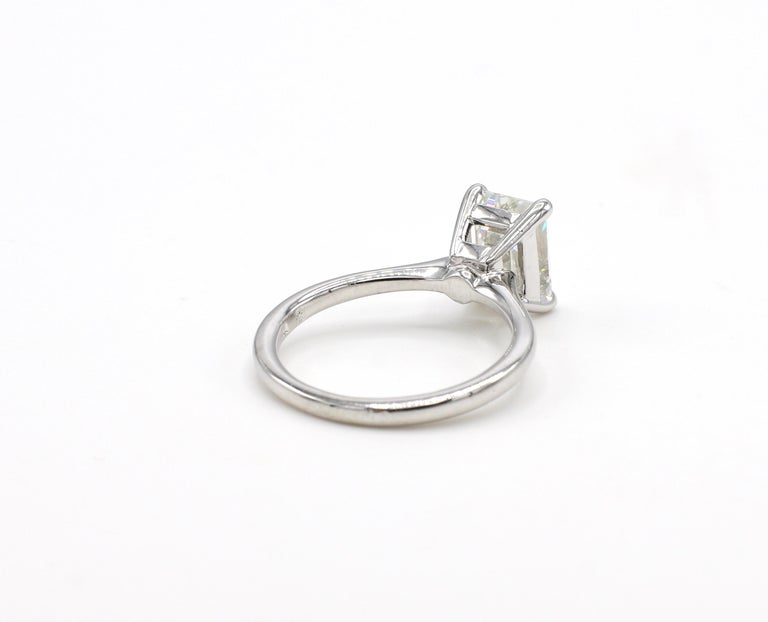 Modern GIA Certified 2.03 Carat Emerald Cut Solitaire Diamond Platinum Engagement Ring For Sale
