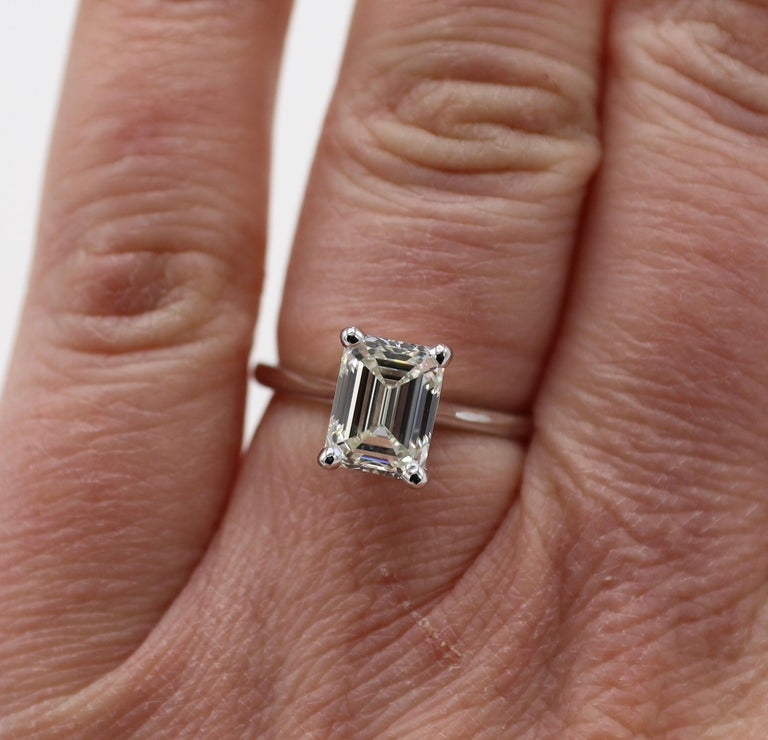 GIA Certified 2.03 Carat Emerald Cut Solitaire Diamond Platinum Engagement Ring For Sale 2