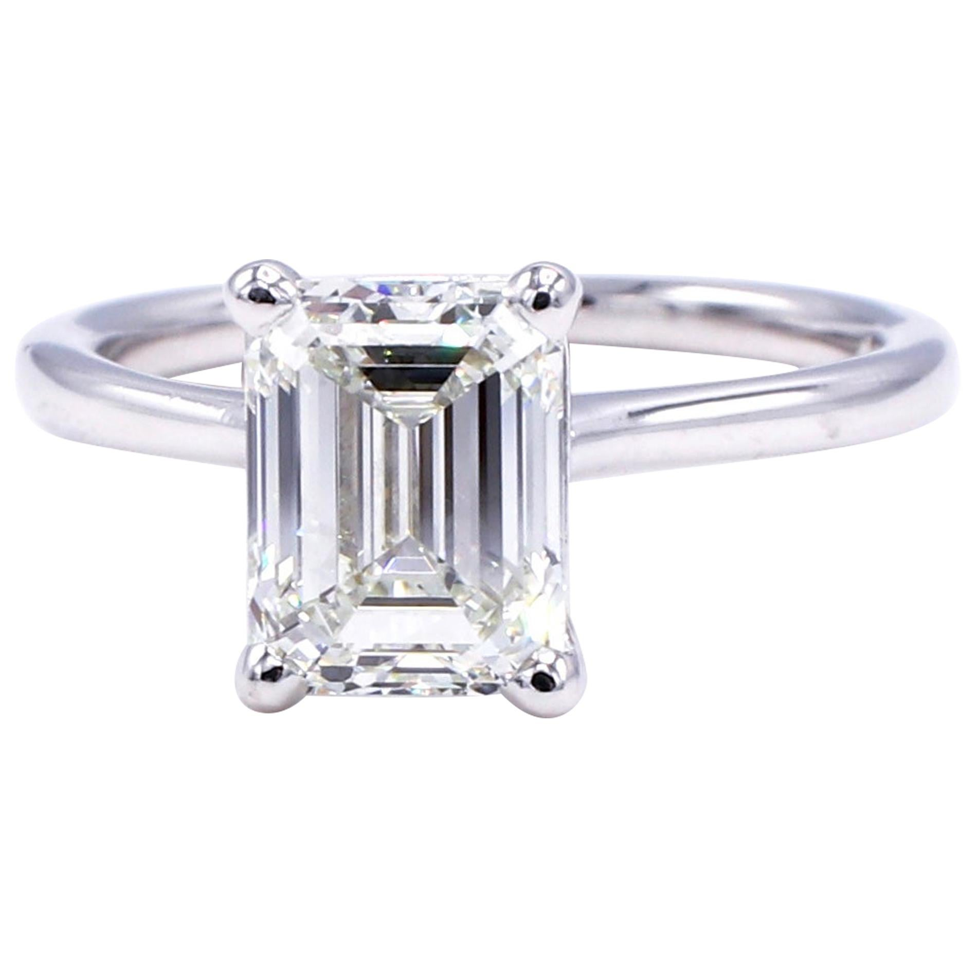 GIA Certified 2.03 Carat Emerald Cut Solitaire Diamond Platinum Engagement Ring