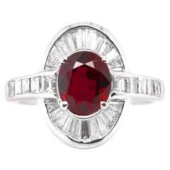 GIA Certified 2.03 Carat Natural Crimson Red Ruby & Diamond Ring set in Platinum