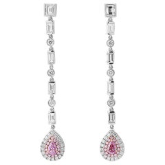 GIA Certified 2.03 Carat Natural Pink White Diamond White Gold Earrings