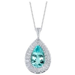 20.36 ct. GIA Paraiba Tourmaline & Diamond 18k White Gold Drop Pendant Necklace