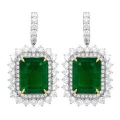 GIA Certified 20.37 Carat Green Emerald Earrings